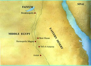 Peta yang menunjukkan lokasi situs Amarna di wilayah Mesir.