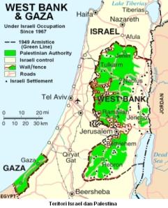 Sisa teritori Palestina setelah dicaplok Israel, tinggal 22 %. Rencana berikutnya, Yerusalem dijadikan ibukota Israel. Kerakusan Israel ini didukung penuh oleh presiden Barack Obama.