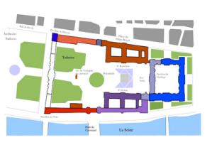 Denah situasi Piramid Louvre