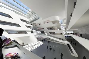 Pusat Studi & Perpustakaan, Universitas Ekonomi & Bisnis di Vienna, Austria, karya Zaha Hadid, bergaya dekonstruksi.