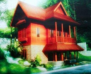 Model rumah bongkar pasang dari kayu atau bambu. Tahan gempa.