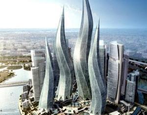 Swirly skycrapers. Gedung pencakar langit yang menimbulkan green house effect dan pemanasan global. Sangat boros energi untuk mendinginkan bagian dalam bangunan. Hindari penggunaan kaca secara berlebihan.