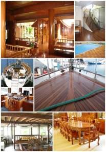 Aplikasi kayu jati di bangunan. ( dari Mahesa Internasional )
